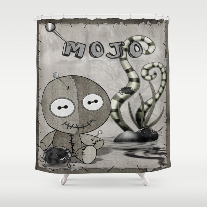 MOJO Gothic Voodoo Doll Folk Art Shower Curtain By Bohemianbound