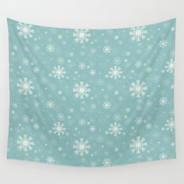 blue pattern with snowflaks Wall Tapestry