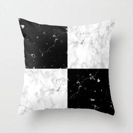 Elegant black white marble Throw Pillow