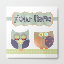 Personalized Home decor owls patchwork style in Nursery room Monogrammed Custom Kids Name Wall Decor Metal Print