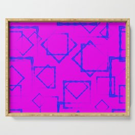 Blue rhombuses and squares in intersection on a lilac background. Serving Tray