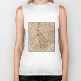 Vintage Map of New Orleans LA (1861) Biker Tank