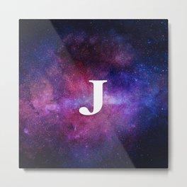 Monogrammed Logo Letter J Initial Space Blue Violet Nebulaes Metal Print