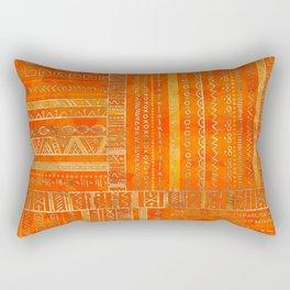 Tribal Ethnic pattern gold on bright orange Rectangular Pillow