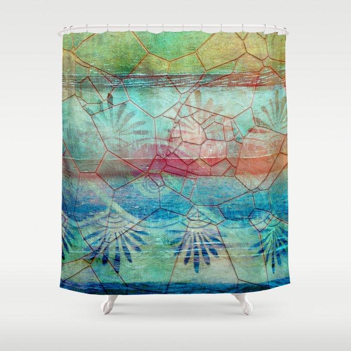Pastel Seashell Mosaic Shower Curtain By Lauragordon