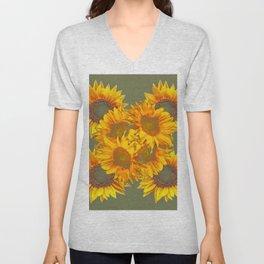 Golden Sunflowers on Putty Color  Art Unisex V-Neck
