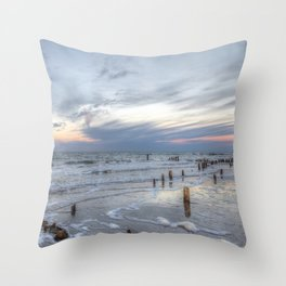 Cold sundown at the beach Throw Pillow