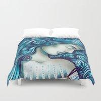 mythology Duvet Covers featuring Calypso Sleeps by TotalBabyCakes