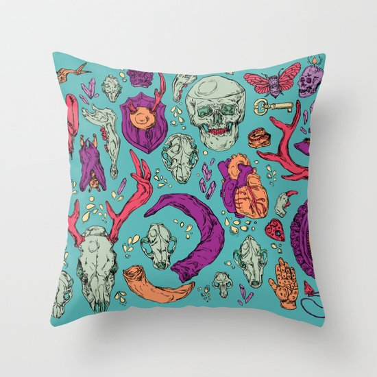 A Curious Collection Throw Pillow