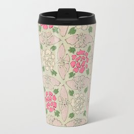 Vintage Pink and Sea Green Floral Pattern Travel Mug