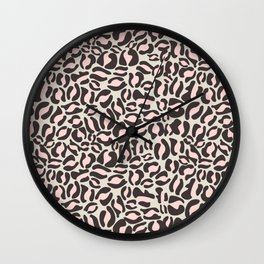 Leopard Print | black and pink modern | Cheetah texture pattern Wall Clock