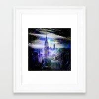new york skyline Framed Art Prints featuring New York Skyline by haroulita
