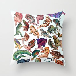 Reverse Mermaids Throw Pillow