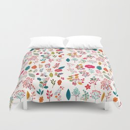 Colorful fall orange pink ivory holly berries floral Duvet Cover