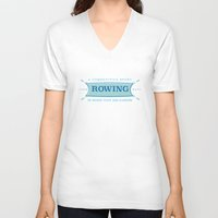 sport V-neck T-shirts featuring A Competitive Sport. by Rabassa