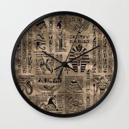 Egyptian hieroglyphs and deities - Luxury Gold Wall Clock