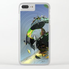 Mysterious Flying Vehicle Landing Clear iPhone Case