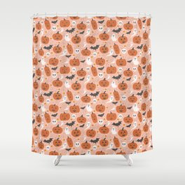 Pumpkin Party on Blush Pink Shower Curtain
