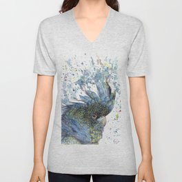 """Watercolor Painting of Picture """"Black Cockatoo"""" Unisex V-Neck"""