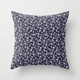 Festive Eclipse Blue and White Christmas Holiday Snowflakes Throw Pillow