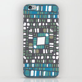 Squared layers in orange and blue iPhone Skin