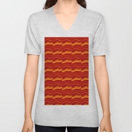 orange waves Unisex V-Neck