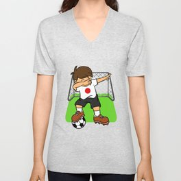 Japan Soccer Ball Dabbing Kid Japanese Football Goal Unisex V-Neck