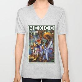 Vintage Xochimilco Mexico Travel Unisex V-Neck