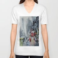 new york V-neck T-shirts featuring New York - New York by Nicolas Jolly