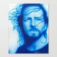 eddie vedder Canvas Prints featuring 'Vedder' by Christian Chapman Art
