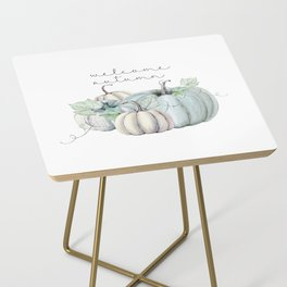 welcome autumn blue pumpkin Side Table