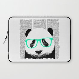 Panda with teal glasses Laptop Sleeve