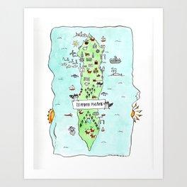Lummi Island Map Art Print