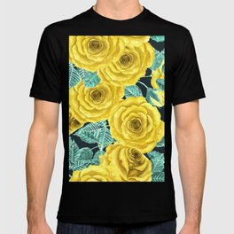 Yellow watercolor roses with leaves and buds pattern T-shirt