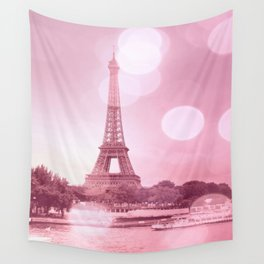 Paris Eiffel Tower Pink Bokeh Wall Tapestry