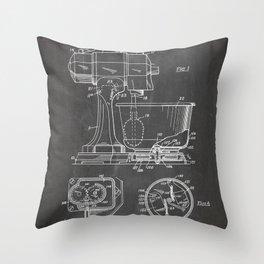 Kitchen Mixer Patent - Chef Food Mixer Art - Black Chalkboard Throw Pillow