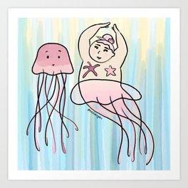 Mermaid & Jellyfish Art Print