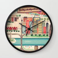 ukraine Wall Clocks featuring Dnipropetrovsk City, Ukraine by Oleksiy Pyliov