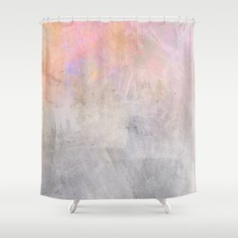 Pastel Candy Iridescent Marble on Concrete Shower Curtain
