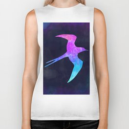 SWALLOW IN SPACE // Animal Graphic Art // Watercolor Canvas Painting // Modern Minimal Cute Biker Tank