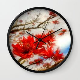 Coral Tree Winter effect Wall Clock