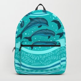 A flock of dolphins in the sea, strips and borders. Marine seamless pattern. Backpack
