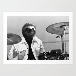 Sloth Drummer Art Print