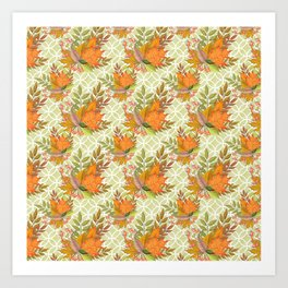 Hand Drawn Autumn Leaves Art Print