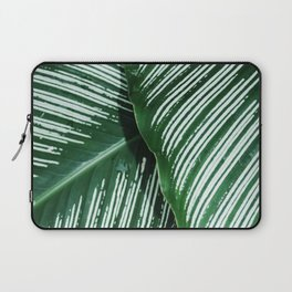 Green Tropical Leaves with White Stripes Closeup Laptop Sleeve