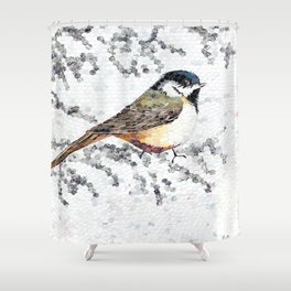 Chickadee Hole Punch Shower Curtain