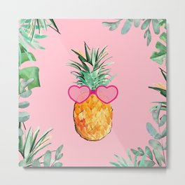 Cool Pinapple with Glasses Metal Print