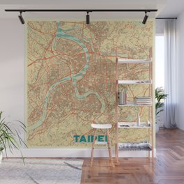 Taipei Map Retro Wall Mural