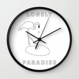 flamingo lonely paradise Wall Clock