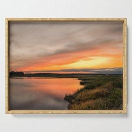Coastal Nature Landscape Photo Sunset Over Woodland Marsh on Cloudy Day Serving Tray